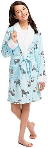 Jellifish Kids Girls Plush Sleep Robe - Foil Fleece Bathrobe