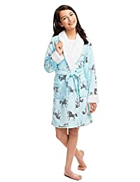 Jellifish Kids Girls Plush Sleep Robe - Foil Fleece Bathrobe