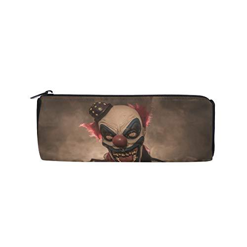 Evil Scary Clown Monster Students Super Large Capacity Barrel Pencil Case Pen Bag Cotton Pouch Holder Makeup Cosmetic Bag for -