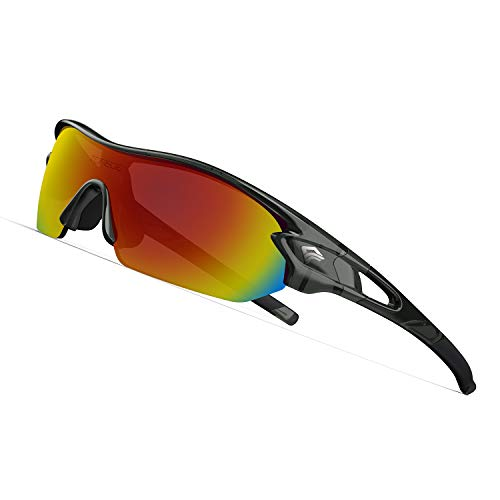 (TOREGE Polarized Sports Sunglasses with 3 Interchangeable Lenes for Men Women Cycling Running Driving Fishing Golf Baseball Glasses TR02 (Transparent Grey&Black&Orange Lens))