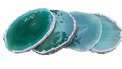 Agate Coasters - Green - Natural Rim - Set of 4 Coasters