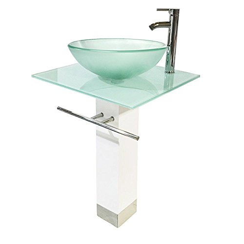 QIERAO Glass Vessel Sink Bathroom Vanity (White + Frosted (Frosted Glass Vessel Pedestal Vanity)