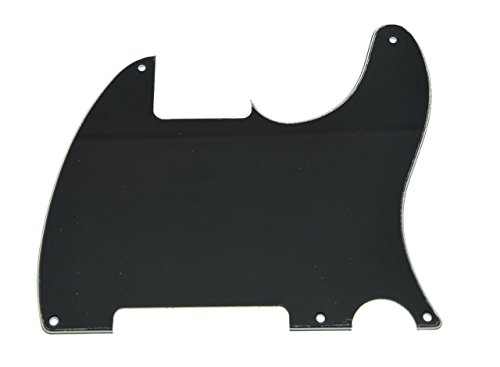 KAISH 5 Hole Tele Blank Guitar Pickguard Scratch Plate Fits Fender Telecaster Esquire Black 3 Ply