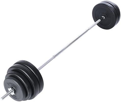 Physionics Set d Haltère 60 kg - Longue Barre 165 cm avec 8 Disques de Poids 62e76d34621