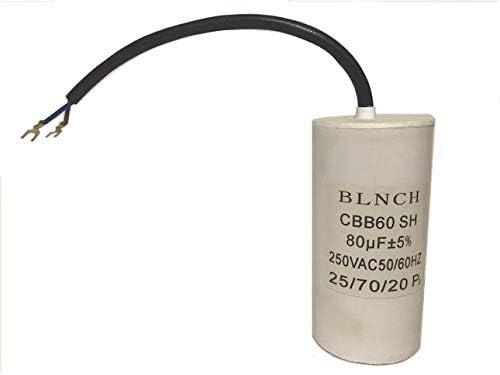 Motor Run Capacitor 80uF MFD 250 VAC Cylindric 50//60hz CBB60 4 1//8 x D=2