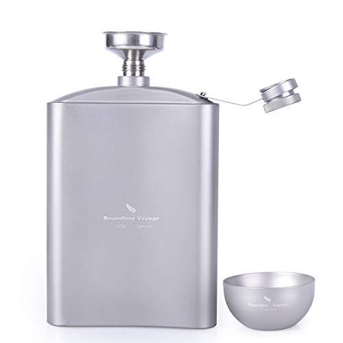(Zxmy Titanium Alcohol Flask Titanium Hip Flask Cup Set with Funnel Camping Picnic Pocket Alcohol Whiskey Flagon Wine Tea Mug Sake Set)