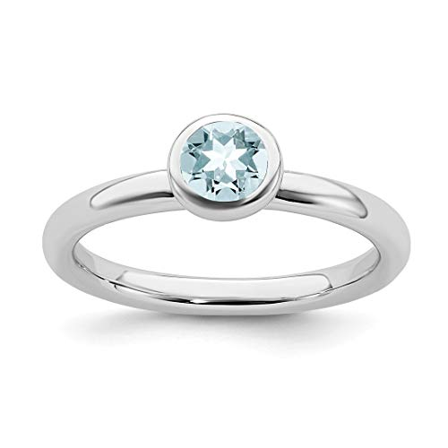 925 Sterling Silver Low 5mm Round Blue Aquamarine Band Ring
