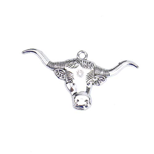 Monrocco 30 Pieces Antique Silver Bull ox Star Head Charms Alloy Animal Head Charms Pendant Jewelry Findings for Jewelry Making Necklace Bracelet DIY ()