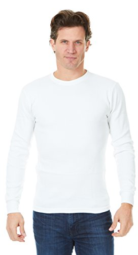 Unique Styles Mens Thermal Top Heavyweight Long Sleeve Waffle Weave Crew Neck (Small, (Neck Waffle)