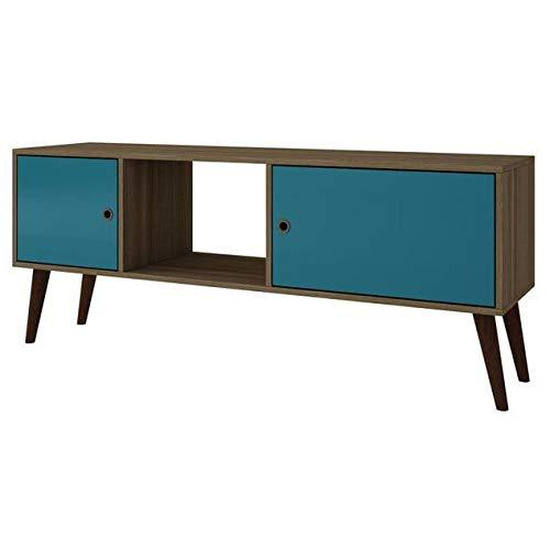 (Manhattan Comfort Accentuations by Varberg Splayed Leg TV Stand Oak and Aqua )