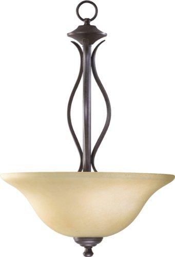 Quorum 8110-3-44 Spencer - Three Light Pendant, Toasted Sienna Finish with Amber Scavo Glass by Quorum Lighting ()