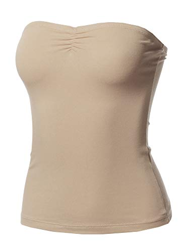 (Awesome21 Solid Sexy Tube Top with Chest Ruching Detail Tan)