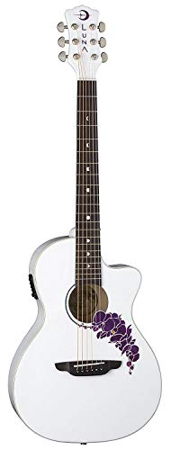 Luna 6 String Flora Orchid Acoustic/Electric Guitar-Classic White (FLO OR CWH)