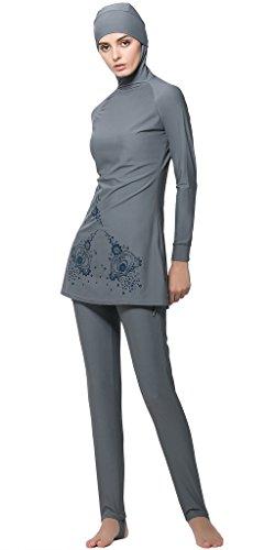 bagno Costumi Costumi Burkini islamiche Ababalaya musulmana Hijab modesto interi da islamico Musulmane Grigio Donne BxgqPqczS
