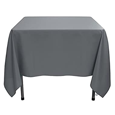 Remedios 85-inch Square Polyester Tablecloth - for Wedding, Restaurant, or Banquet use, Dark Gray