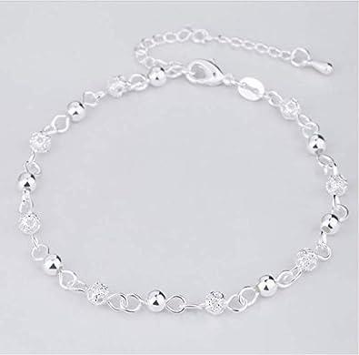 ksufnjekls 925 Pulsera De Plata Calado Charm Beads Pulseras para Mujer Niña S925 Plata Tobillo Cadena Pulsera De La Pierna