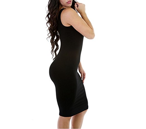 Strap Sexy Dress Black Women Sleeveless Bodycon Solid Clubwear Base Mini dIZOwUZq