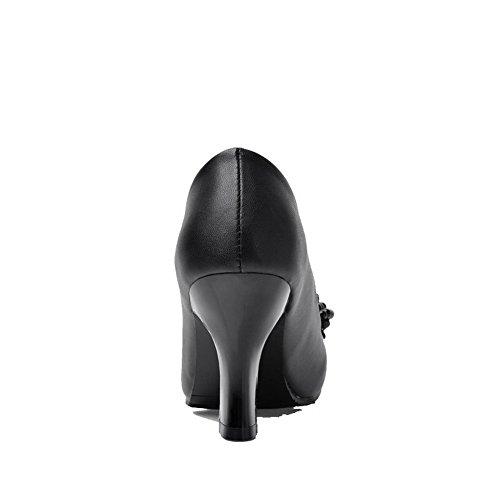 AllhqFashion Mujer Material Suave Sin cordones Puntera Cerrada Puntera Redonda Tacón Alto Sólido De salón Negro