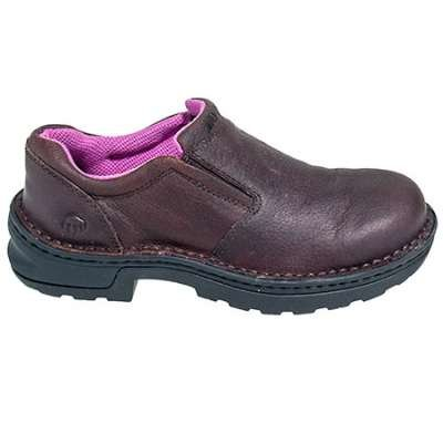 Wolverine Shoes Women's Steel Toe 10192 EH Bailey Slip On Brown Shoes