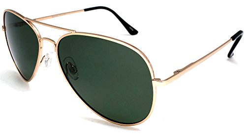 Unisex Classic Polarized Military Pilot Sunglasses - Nickel Plated Metal With Spring Loaded Hinges (Aviator Brille Rx)