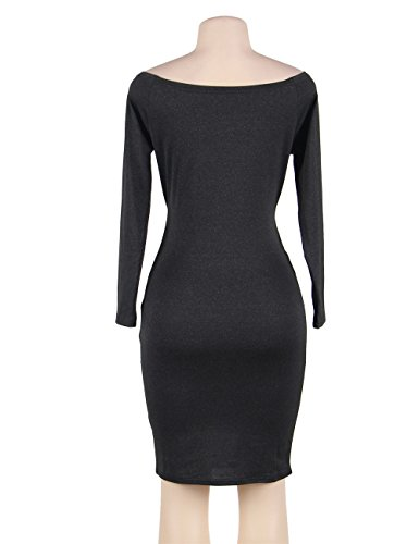 Dress Club Bodycon Black Sleeve Off Women's Long Shoulder Stretchy Midi comeondear wzfS8Fxqw