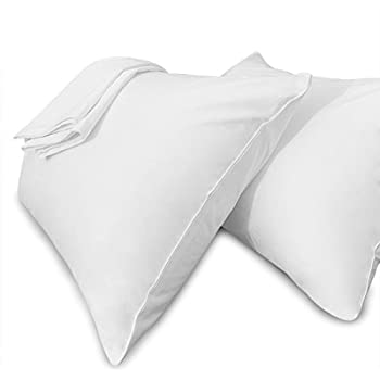 Precoco White Pillow Cases Standard Size-100% Cotton Pillowcase Covers with Zipper Hidden, Wrinkle, Fade & Stain Resistant/Pillow Covers for Easy Care, Set of 2