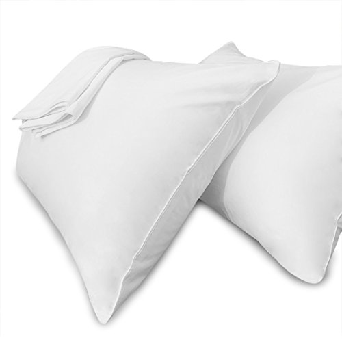 White Pillow Cases Standard Size Hidden Zippered 100% Cotton Hypoallergenic Bed Bug & Dust Mite Resistant Pillow Covers for Easy Care, Set of 2
