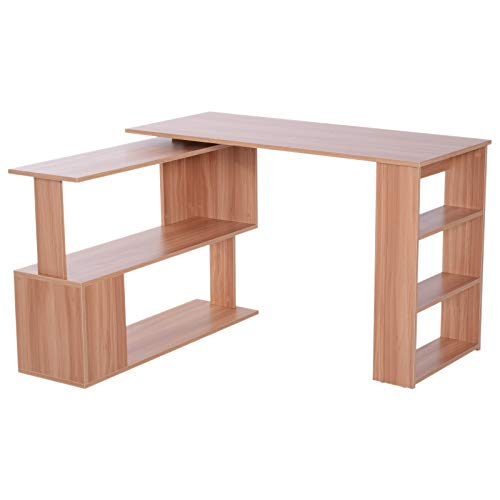 HOMCOM Modern L Shaped Rotating Computer Desk with Bookshelves - Maple