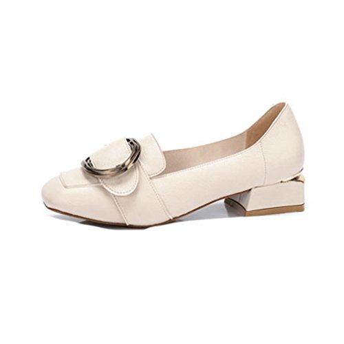 Giy Femmes Classique À Bout Carré Penny Loafers Pompes Affaires Slip-on Boucle Bloc Talon Robe Mocassins Chaussures Beige