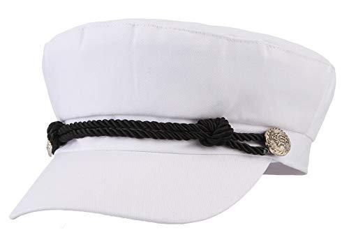 Gemvie Unisex Classic Flat Hat Breton Sailor Cap British Style Fiddler Cap Flat Cabbie Cap/White