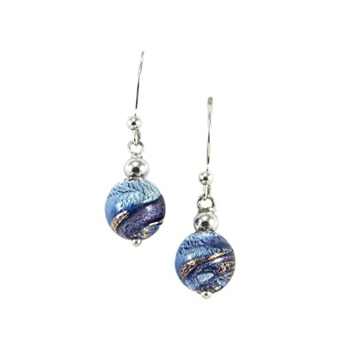 - Woman's earrings in 925 silver rhodium plated and Murano glass enhanced by a white gold leaf made in Florence. OIR030/W02