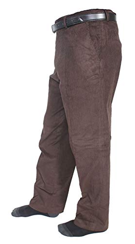 FASHION FAIRIES Gents Plain Corduroy Cord Casual Pants with Belt Mens Cotton Formal Trouser#(Brown Corduroy Cord Cotton Pants#Waist 40/29 Length#Mens)