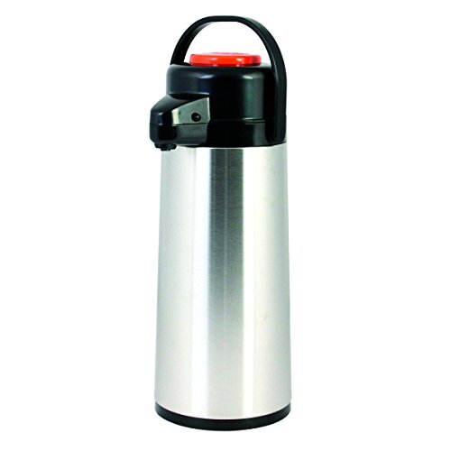 Excellante ASPG025D Airpot, Stainless Steel Body, Glass Lined, Push Button, Decaf, 2.5 L (Pack of 6)
