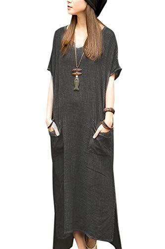 Smock Maxi (Simgahuva Womens Linen Maxi Dress Short Sleeve Cotton Dresses Plus Size with Pocket Gray L)