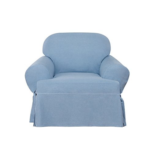 Sure Fit Authentic Denim One Piece T-Cushion Chair Slipcover - Chambray
