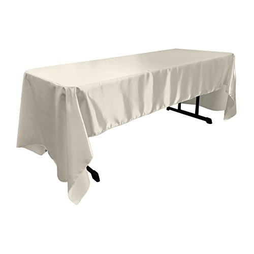 LA Linen Bridal Satin Rectangular Tablecloth, 60 by 120-Inch, - Satin Bridal Wholesale