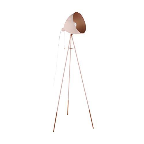 EGLO CHESTER-P staande lamp staal 60 W, pastel abrikoos, koper