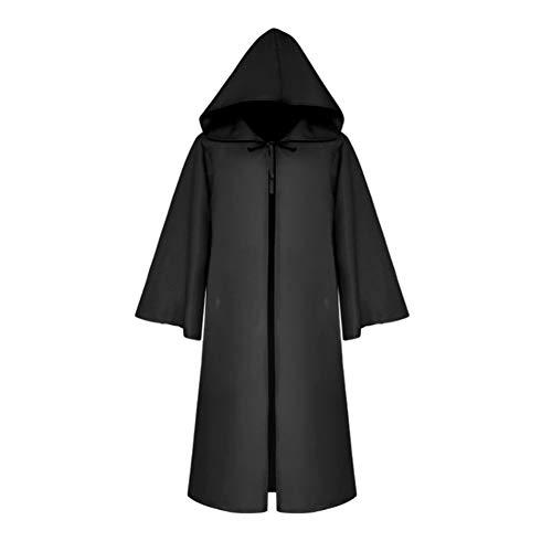 lightclub Medieval Halloween Solid Color Hoodie Devil Vampire Wizard Kids Adult Men Cosplay Tunic Hooded Robe Cloak Cape Knight Fancy Cool Costume Black KIDS-M