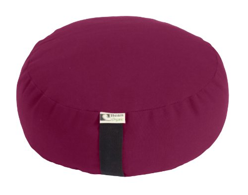 PLUM - Round Zafu Meditation Cushion - Yoga - Organic 10oz Cotton - Organic Buckwheat Fill - Made in USA