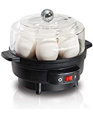 Hamilton Beach 25500 7 Egg Cooker with Built-in Timer and Poaching Tray, A, Black