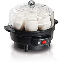 Hamilton Beach 25500 Egg Cooker with Built-In Timer and Poaching Tray, 7 Eggs, Black