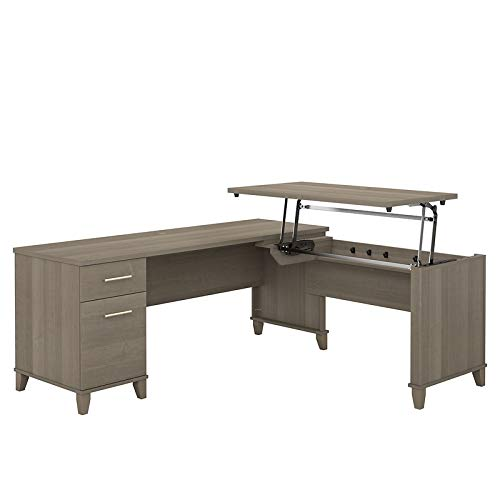 (Bush Furniture Somerset 72W 3 Position Sit to Stand L Shaped Desk in Ash Gray)