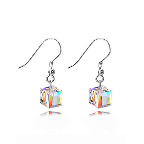 AOBOCO Sterling Silver Drop Earrings with Swarovski Crystals Hypoallergenic Jewelry for Girls Her (Crystal Dangle Earrings)