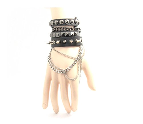 Cool-Punk-Rock-Rivet-Multi-layer-Spiked-with-Chain-Suit-Leather-Wristband-Bracelet-Unisex-Bangle