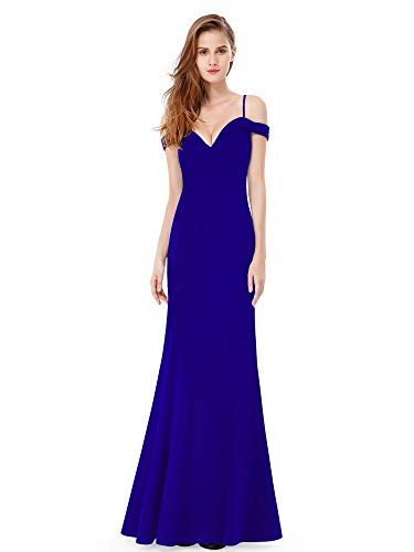 Ever-Pretty Womens Long Off Shoulder Sweetheart Neck Military Ball Dress 14 US Sapphire Blue