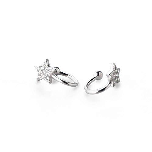 (Dtja Lovely CZ Star Bead Cuffs Clip on Earring for Women Teen Girls S925 Sterling Silver Cubic Zirconia Shiny Star Hoop Earrings Cute Cartilage for No Piercing Ear Huggie Jewelry Fashion Gifts)