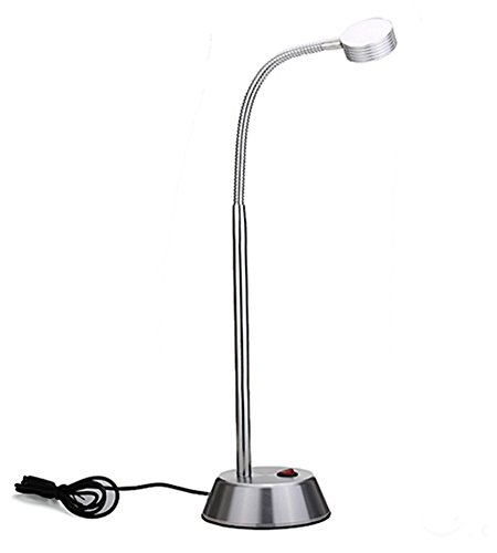SunRise USB LED Plant Grow Light Desk Lamp for Hydroponic Garden and Greenhouse, Flexible Gooseneck 360°Rotation, 5V 2W, Power Saver,Silver,Polished Finish by SunRise