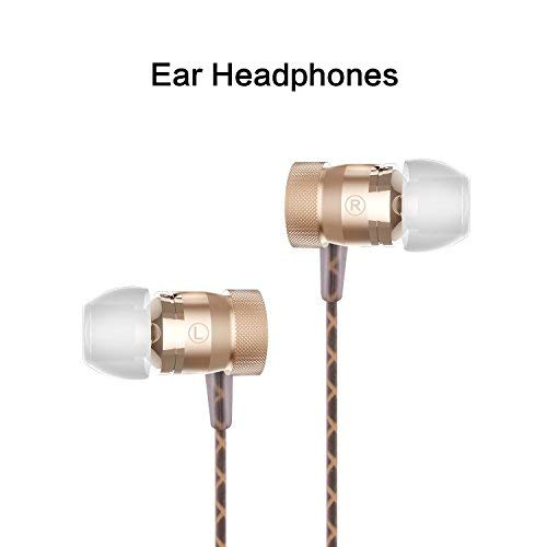 Sonzi in- Ear Headphone Sports Earphone, Stereo Sound Noise Isolating Stereo Bass Earphones with Mic for 3.5mm Interface Devices (Gold)