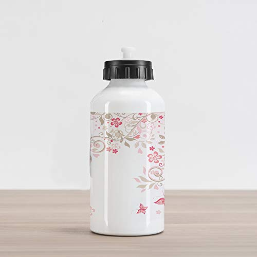 Lunarable Floral Aluminum Water Bottle, Curly Branches Wildflowers Butterflies Dots Romantic Bridal Wedding Theme, Aluminum Insulated Spill-Proof Travel Sports Water Bottle, Pink Cocoa Pale Pink