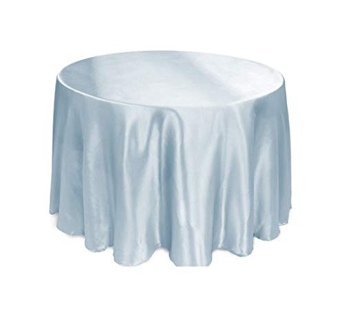 Tablecloths Round Satin Tablecloth for Wedding Events Party Banquet Hotel Decoration Satin Dining Table Cover,Sky Blue,275Cm Round 108Inch